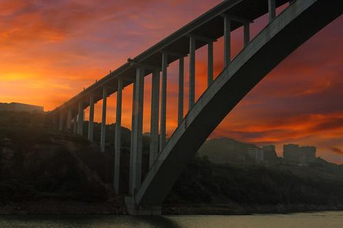 china bridge sunset yangtze chongqing hdr