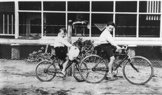 Boys on bikes at Barramornie Station, August 1924