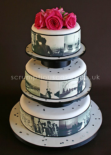 Make Edible Cake Pictures : Wedding Cake (461a) - Edible Paris Pictures & Fresh Roses ...