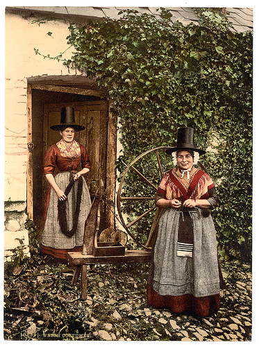 [Welsh spinners and spinning wheel, Wales] (LOC)