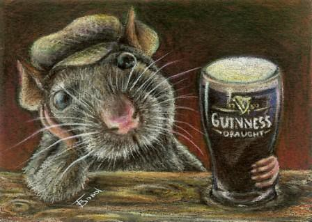 Paddy the rat drinking<br /> Guinness in a quiet pub