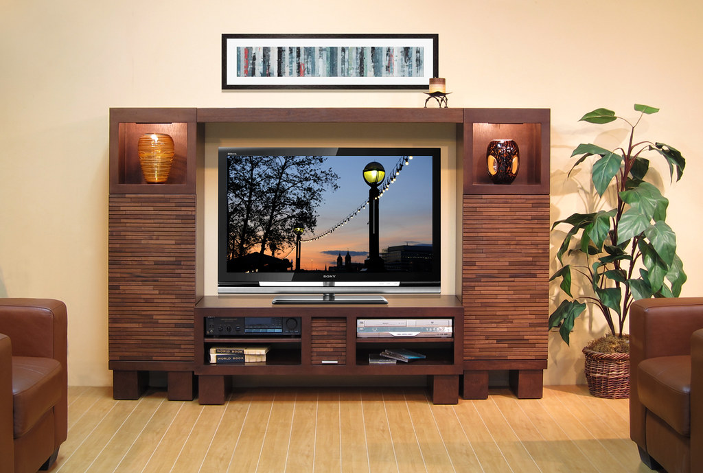 Modern Entertainment Center Low Profile Wall Pacific 48
