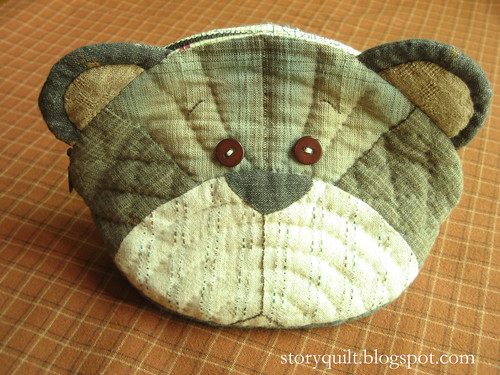 Teddy bear patchwork pouch
