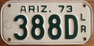 ARIZONA 1973 ---MOTORCYCLE DEALER plate