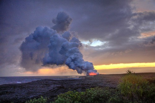 HDR Lava Flow Sunset / Big Island, Hawaii