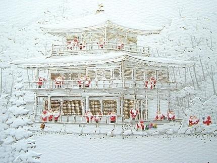 Flickriver photoset christmas by fromjapanwithlove japanese cute japanese christmas card kinkaku ji golden pavilion and santa m4hsunfo