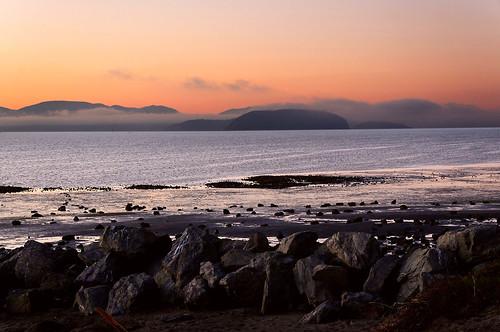 ocean sunset beach fog sand rocks wa bayview untiedstatesofamerica