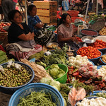 Women and Vegetables at Antigua Market, Guatemala