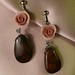 Brown moss agate and pink rose earrings