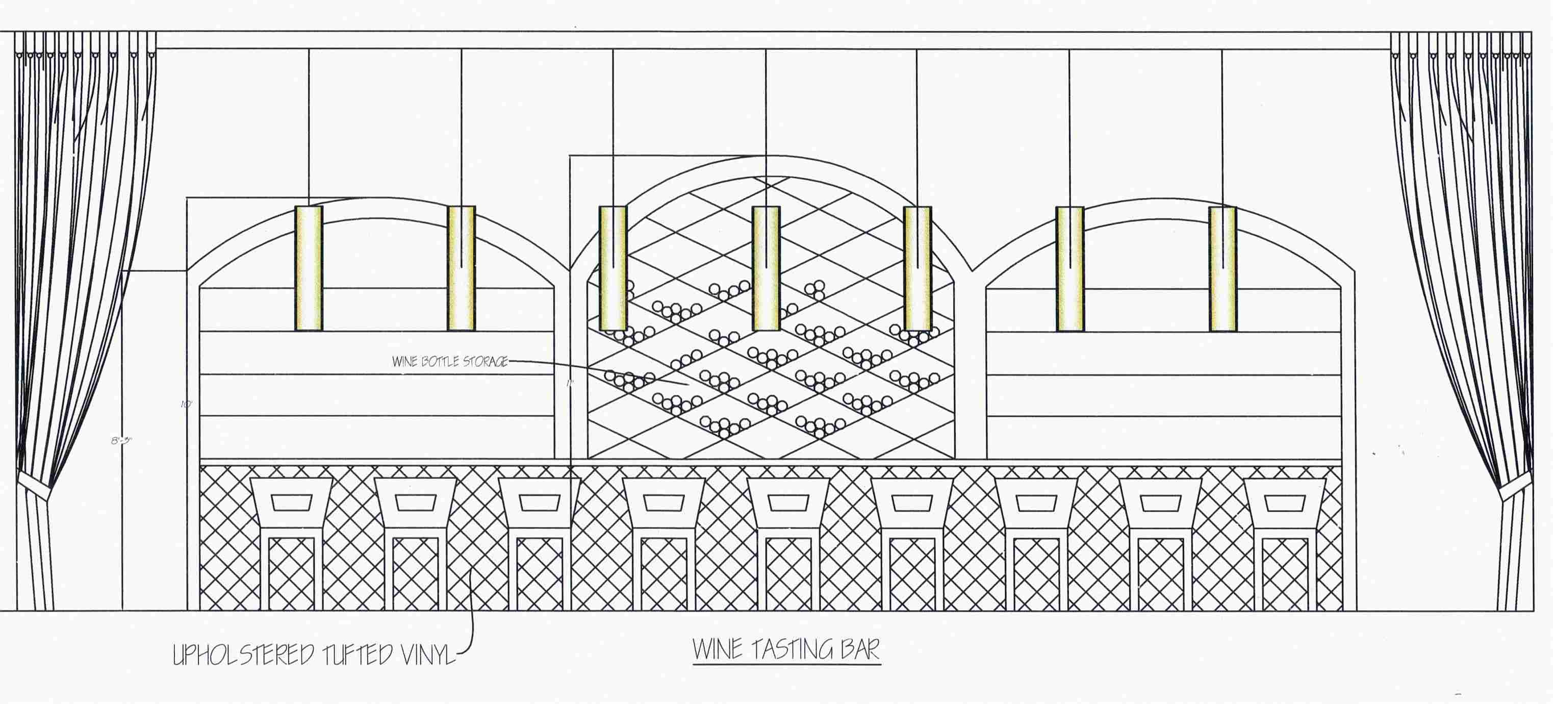 Restaurant bar elevation drawing joy studio design
