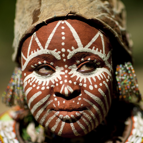 Face painted Kikuyu woman - Kenya by Eric Lafforgue