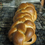 Whole wheat challah with dried cherries