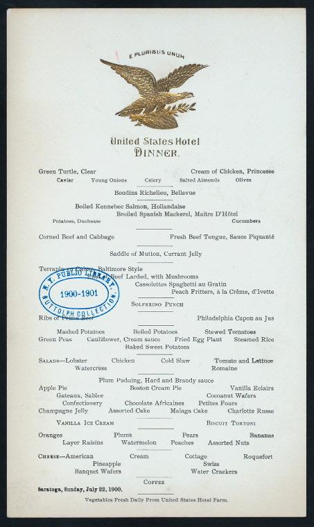 DINNER [held by] UNITED STATES HOTEL [at] 'SARATOGA, NY' (HO...