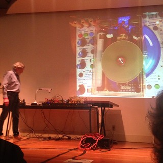Buchla shows his Paris Metro Gnome. The belly is the tempo, the hat hands and feet are aspects of the beat.