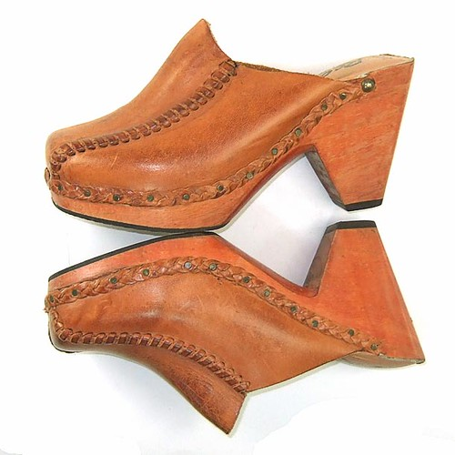 Vintage 1970's leather and wood clogs