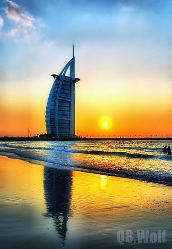 sunset sea sun reflection tower set wolf dubai waves uae burjalarab burj q8 alarab addictedtoflickr colorphotoaward goldstaraward q8wolf