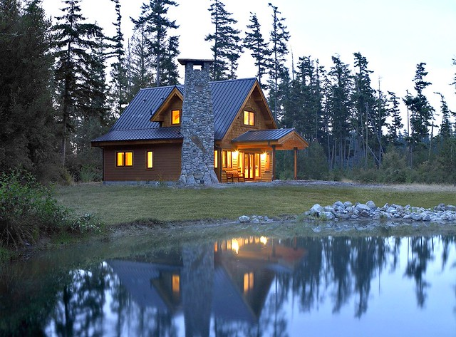 Custom lindal home in washington state evening for Lindal log cabin homes