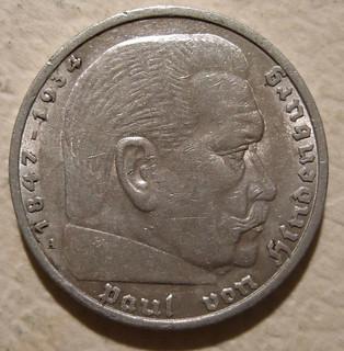 GERMANY ---5 REICHSMARK NO SWASTIKAS 1935 b