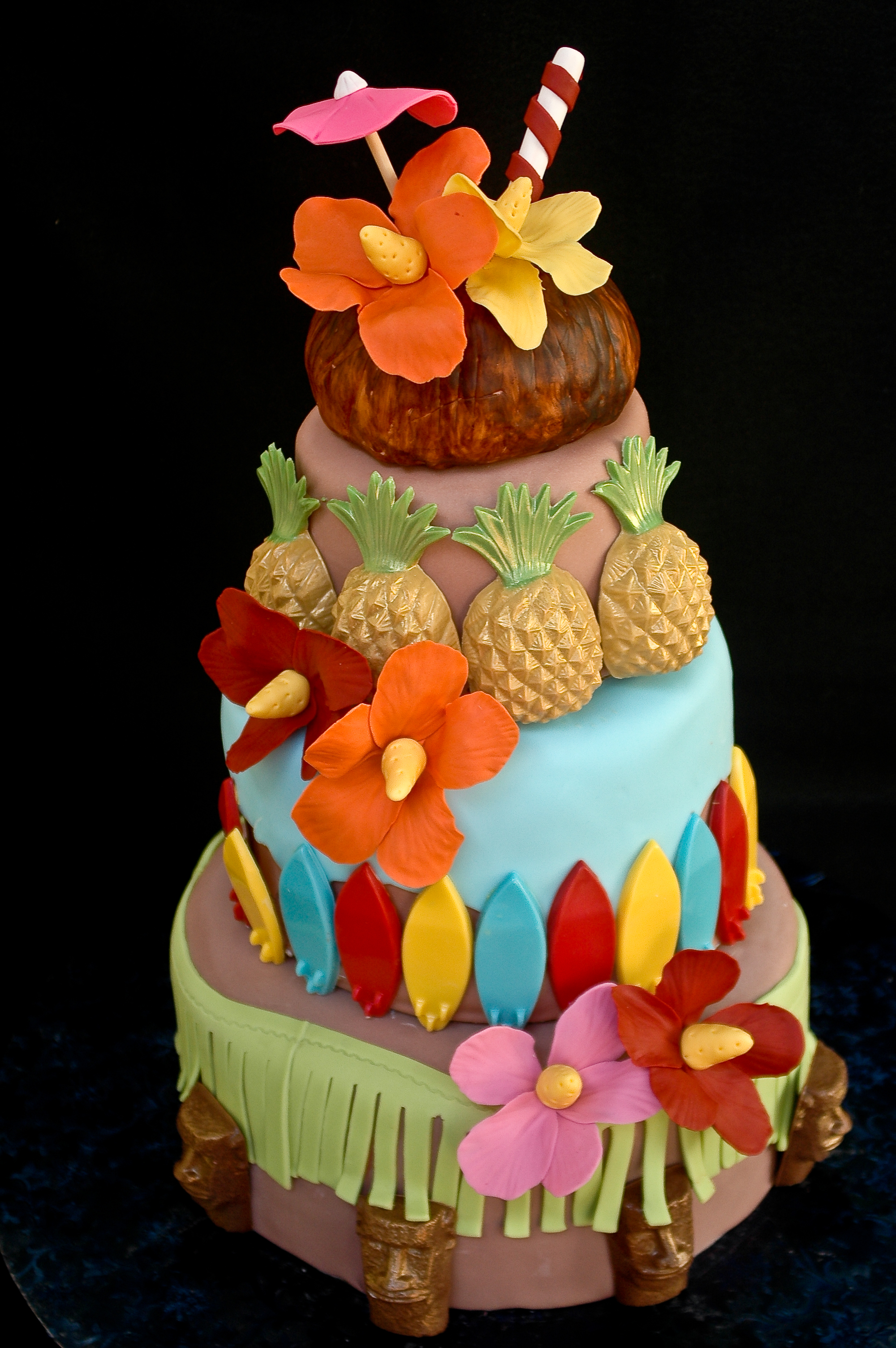 Hawaiian Themed Wedding Shower Cake