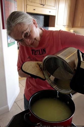 anna making ricotta cheese