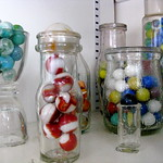 glass, marbles