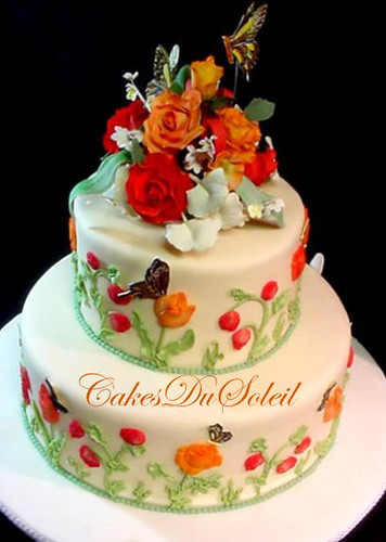 Flower garden wedding cake flickr photo sharing for Garden wedding cake designs
