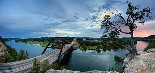 sunset sky colors austin texas bridges coloradoriver 20 beautifulsky pennybackerbridge perfectpanorama top20texas