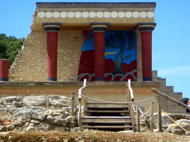 West Bastion as recreated by Evans with its replica of the Charging Bull relief, The Minoan palace, Knossos