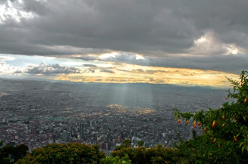 city travel sunset sky urban clouds geotagged smog colombia bogota day cloudy sunbeam monserrate touched exposureblending