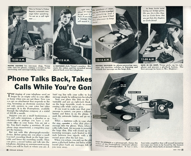 phone talks back Pop Sci pgs 88,89-May-1953