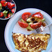 cheese omelette, tomato and avocado....