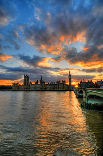 Sunset at the Houses of Parliament & Big Ben, London