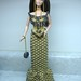 Metallic gold rose crocheted Barbie outfit with beads - August 2009