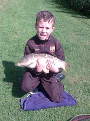 Thomas Platt with a 7lb 6oz carp caught with a 5m pole from peg 18 on Island Pool.