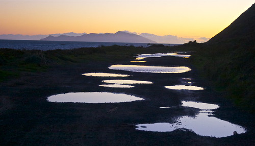sea newzealand reflection sunrise canon landscape bay coast wellington puddles plimmerton porirua hongoeka