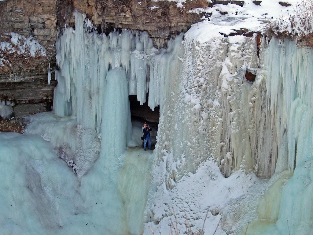 Behind a frozen fall