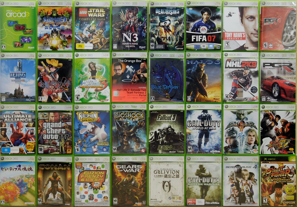 My Xbox 360 games collection (March 2009)