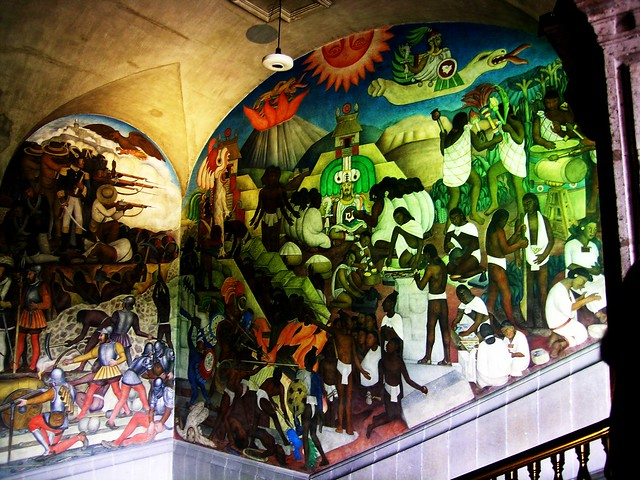 Diego rivera mural the arrival of quetzalcoatal and the for Diego rivera aztec mural
