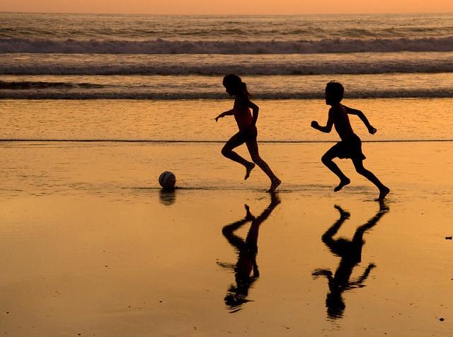 Sunset soccer shadows