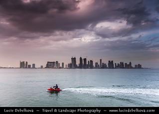 Qatar - Jet Skiing in front of Doha Skyline