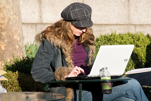 A non-Apple laptop being used in a cool park full of cool people