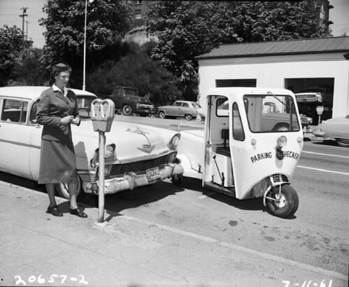 Parking checker at 5th and Cherry, 1961