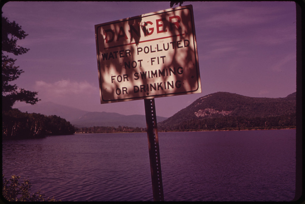 Polluted Androscoggin River in the
