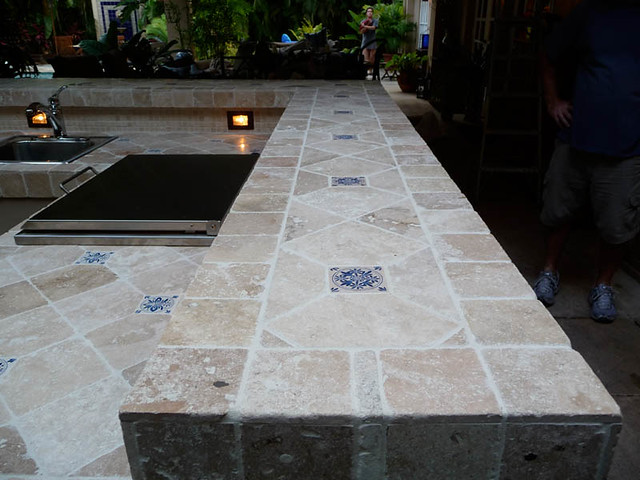 custom tile travertine outdoor kitchen counter tops