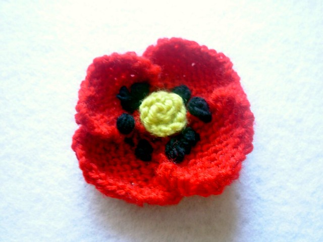 Knitting Pattern For Poppy Brooch : Knit and Crochet Red Poppy Brooch Pin Flickr - Photo Sharing!