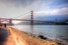 Golden Gate Bridge in setting sun.