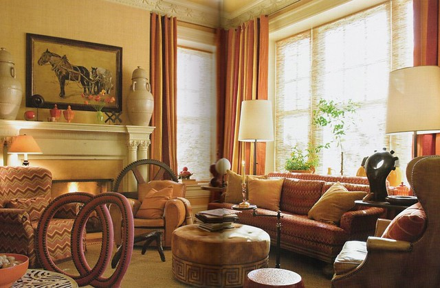 Warm Paint Colors For Living Room On Warm Colors Luxe Fabric Living Room By  Barry Dixon