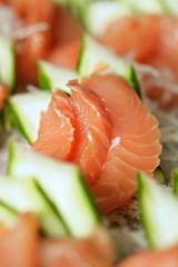 salmon-like fish(0.0), fish(0.0), produce(0.0), hors d'oeuvre(1.0), salmon(1.0), sashimi(1.0), fish(1.0), garnish(1.0), lox(1.0), food(1.0), dish(1.0), cuisine(1.0), smoked salmon(1.0),