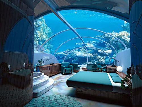 the underwater bedroom of burj al arab hotel in dubai