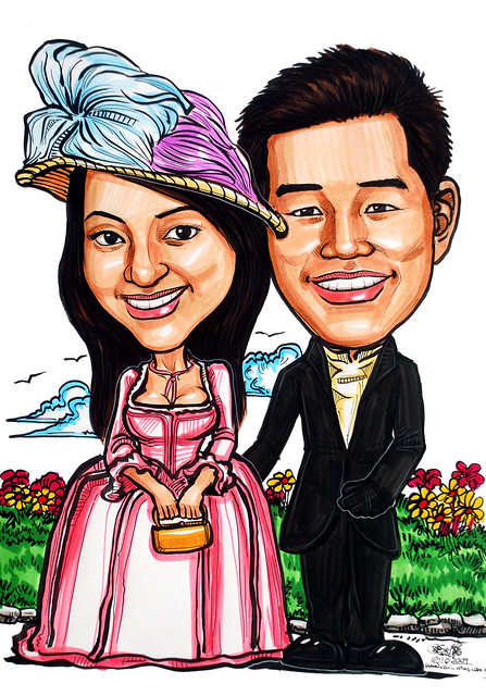 Victorian theme wedding couple caricatures website wwwportraitworkshop